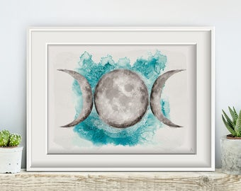 Moon phases aquamarine No1, poster, print, prints, artwork, premium print, wall art, moon, universe, turquoise
