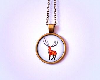 Necklace | Geometric Deer | 25x25 mm
