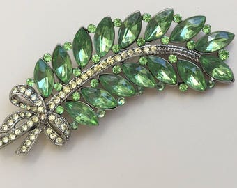 Lovely Vintage Crystal Feather Brooch .