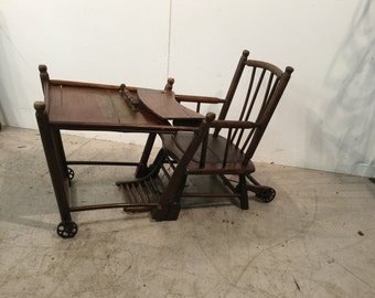 Antique French Oak Metamorphis Childrens Chair/High Chair/Desk