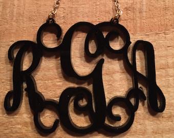 Monogram Acrylic custom Laser Cut Necklace, Vine Script 2.5 in. wide, 34+ acrylic colors