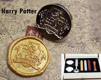 Harry Potter Wax Seal Stamp Kit-Sealing Wax Kits-Custom Wax Seal Gift Box Package-Wax Stamp Seal Set-Hogwarts Seal&Gryffindor Seal as choose