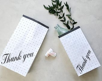 50 Thank you paper bags,gift paper bag,white paper bag,gift bag,gift bag,favor paper bag,black and white paper bag,cute paper bag,thank you