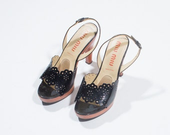 MIU MIU - Black patent-leather shoes