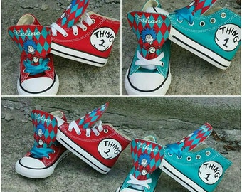 Thing 1 thing 2 custom sneakers converse