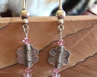 Sterling silver and pink crystal dangle earrings