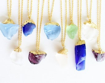 Beach Glass Necklace, Gold Dipped Necklace, Sea Glass Necklace, Crystal Necklace, Gold Necklace, Long Necklace, Pastel Necklace, Boho Jewel