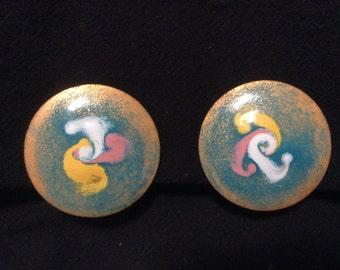 Enamel and Copper Clip On Earrings