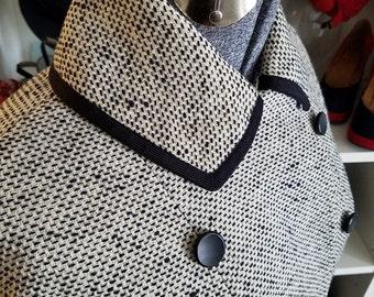 Clean, Vintage, 1950's, Dayton's, Adolphe Zelinka, Ivory, Navy Blue, Tweed, Wool, Swing, Coat, Jacket