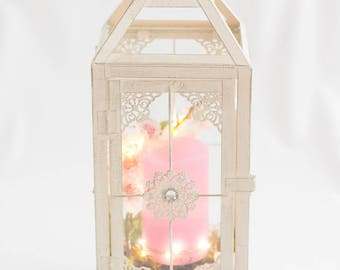 Vintage Wedding Lantern / Wedding Decor / pink and white lantern / lantern with candle / shipping included / centrepiece / hanging lantern