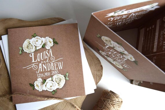 Rustic Rose Wedding Invitation Sample