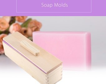 Silicone Soap Mold with Lid 900g and 1200g Rectangular Solid DIY Silicone Soap Making Fondant Mold Wooden Box with Cover