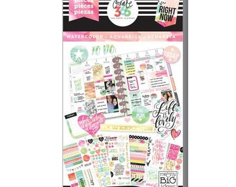 Create 365 the happy planner-Value Pack Stickers - Watercolor-1078 pcs