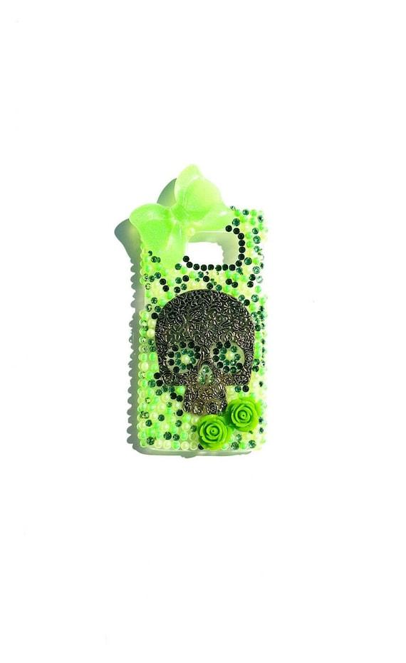 Sugar Skull, Green Samsung S7 case, sugar skull case, bling case, bling s7 case, green sugar skull, samung s7 case, Galaxy S7 case, bling