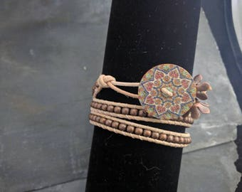 Hokte leather and copper triple wrap bracelet OOAK