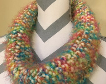 Hand Knit Bright and Colorful Cowl