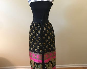 1970's quilted maxi skirt/ reversible skirt