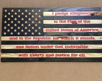 American Flag (Pledge of allegiance Edition) out of pallet wood