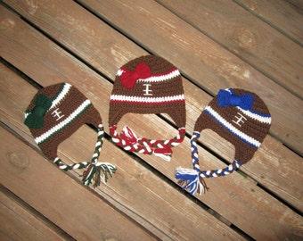 Crochet Girl Football Hat/Crochet Football Hat/OU Hat/Newborn Hat/Crochet Toddler Hat/Football Hat/Crochet Winter Hat/Crochet Baby Hat