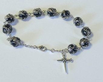 Black Accented Elegance Rosary Bracelet