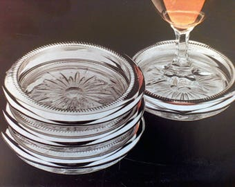 Vintage coaster set, Silver plated, Glass, Leonard Silver MFG. Towle silver, Made in Italy