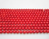 """Smooth Round Red Bamboo Coral Loose Beads Size 6/8/10mm 15.5"""" per Strand.R-S-COR-0342"""