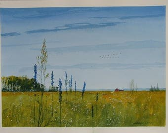 Spring countryside painting, field watercolor artwork, red barn, Summer flowers, signed original artwork,  #137
