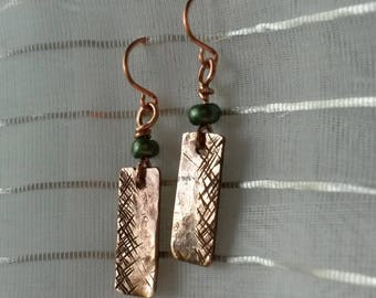 Hashtag upcycled copper rectangle earrings with green bead