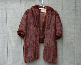 Vintage Mink Cape Fur Stole Wrap Capelet Chocolate Brown