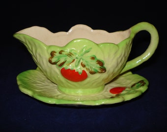 Cabbage leaf sauce boat by Arther Wood