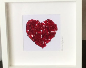 Glass Heart Picture, Glass Wall Hanging, Glass Art, Home decor, Wall Art, Gift for her, Gift for them, Wedding Gift,  Valentines     17/13