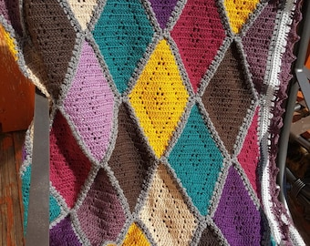 Autumn Diamonds Crochet Blanket