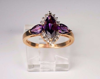 14K Yellow Gold Amethyst and Diamond Ring , 2.8 grams, Size 5.5