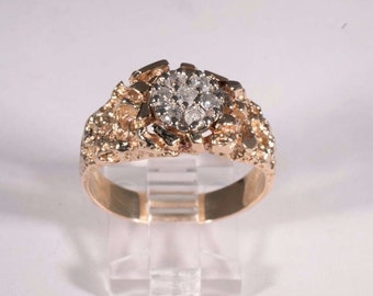 14K Yellow Gold Diamond Cluster Nugget Ring, size 11.5