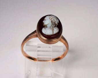 10K Yellow Gold Turn of the Century Cameo Ring, size 7