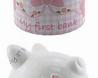 Piggy Bank, Personalized,My First Bank, Girl's Bank, Ceramic Blue Piggy Bank, My 1st Bank, Shower Gift, Baby Gift, Girl's Bank