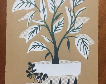 White Potted Plant Screenprint