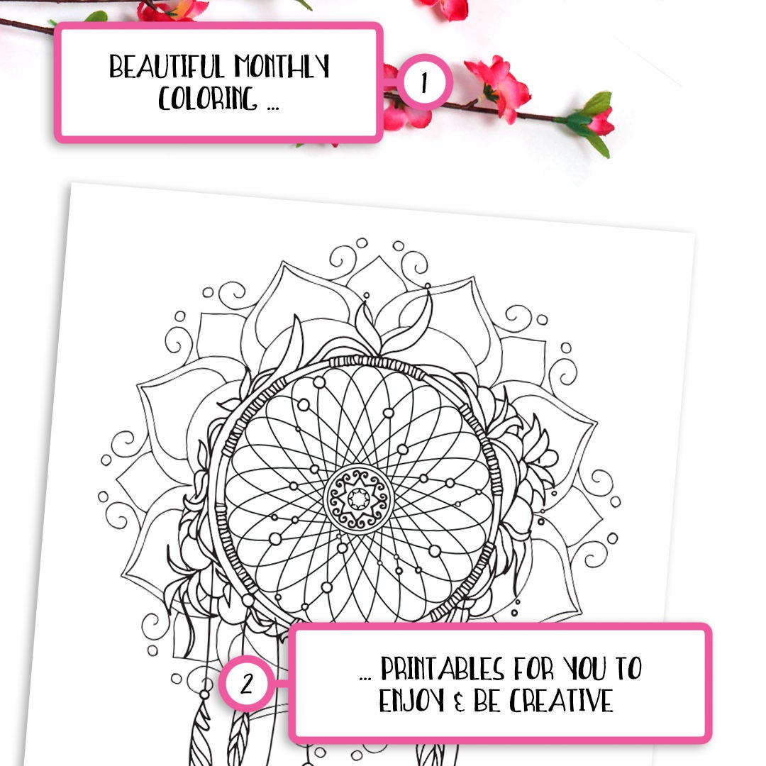 printable dreamcatcher coloring page u2022 monthly bullet journal