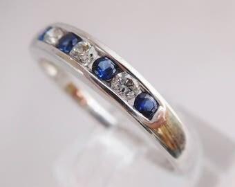 Classical sapphire & diamond anniversary band ring, 10k white gold ring