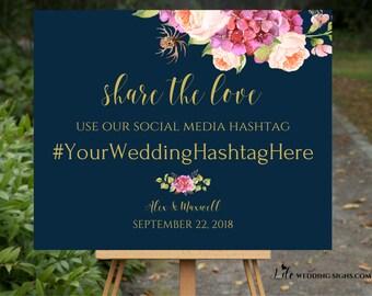 Share The Love, Wedding Decor, Wedding Hashtag Sign, Navy Blush + Gold Wedding Sign, Pink Peonies, Bohemian Wedding, Navy SKU# IDWS502_3613C