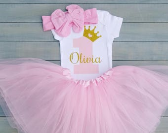 First birthday Outfit Girl, Birthday Girl One,  Pink and Gold Outfit, First birthday glitter
