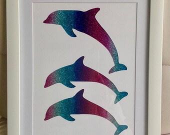 A4 - Dolphin Glitter Silhouette Picture