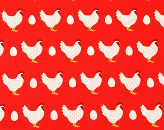 Hens Chickens Eggs Cotton Fabric Makower from Lila's Kitchen collection  by the Half Yard