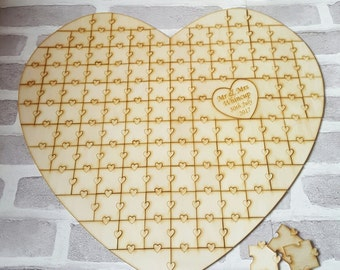 Jigsaw Puzzle Guestbook, Jigsaw Wedding Guest Book, Puzzle Guestbook, Jigsaw Heart Shape Wedding Guest Book, Personalised Handmade Guestbook