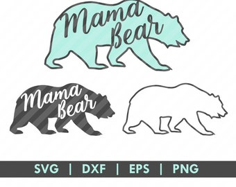 Mama Bear Silhouette SVG DXF Cut File