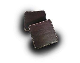 Stitched Dark Brown Square Leather Coaster Set of 4 (Engraving Available)