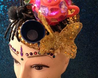Gold sequin macabre tea party fascinator