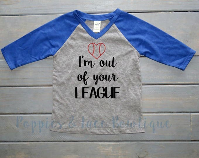 Out of Your League Raglan Tee, Girls' Baseball Tee, Girls' Raglan, Baseball Raglan, Baseball Sister, Gifts For Girls