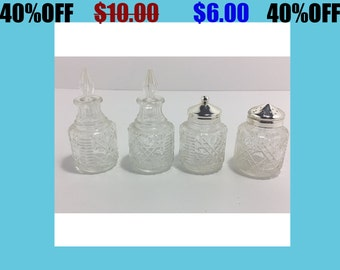 Vintage Glass Mid Century Salt/Pepper/Vinegar/Oil Set