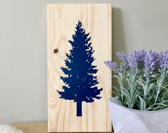 Wood Wall Art, Tree Painting, Spruce Tree, Pine Tree, Tree Art, Nature Art, Spruce Painting, Wall Décor, Home Décor, Nature Elements, Art